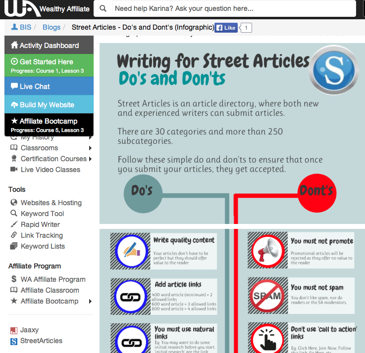 Street Articles Do's and Don'ts