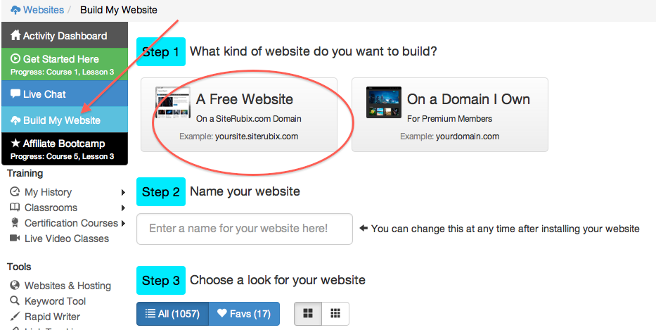 Create a website for free