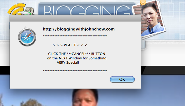 Pop up annoyance